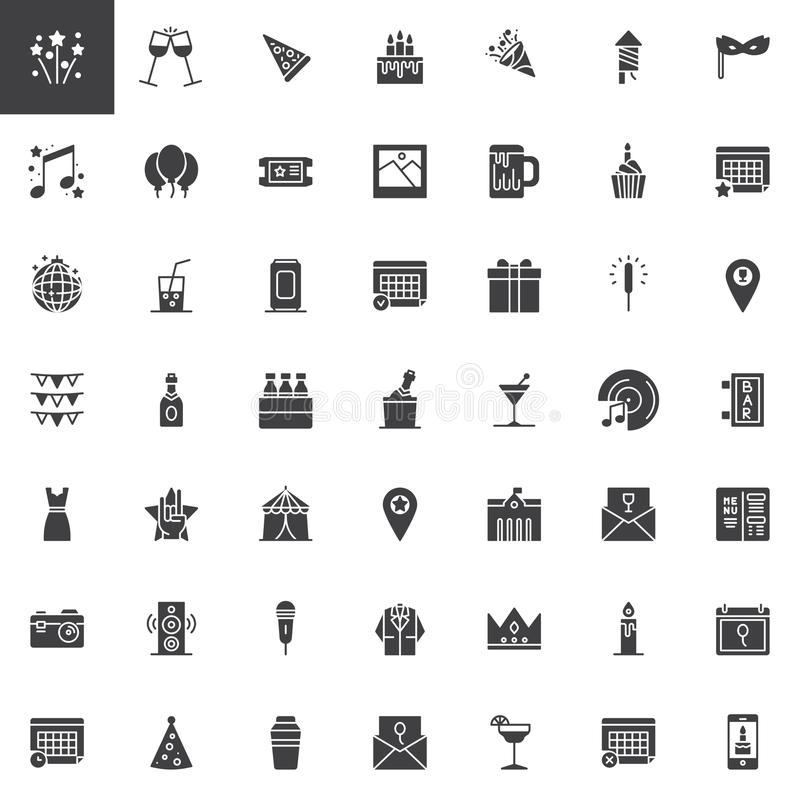 Event, celebration vector icons set vector illustration