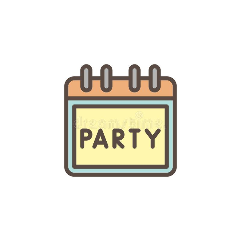 Event day date reminder filled outline icon royalty free illustration
