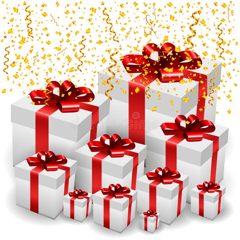 Holiday Mood with Present Boxes & Confetti. Event Festive Background with Realistic 3D Present Boxes and Golden Confetti Falling. Vector Illustration stock photos
