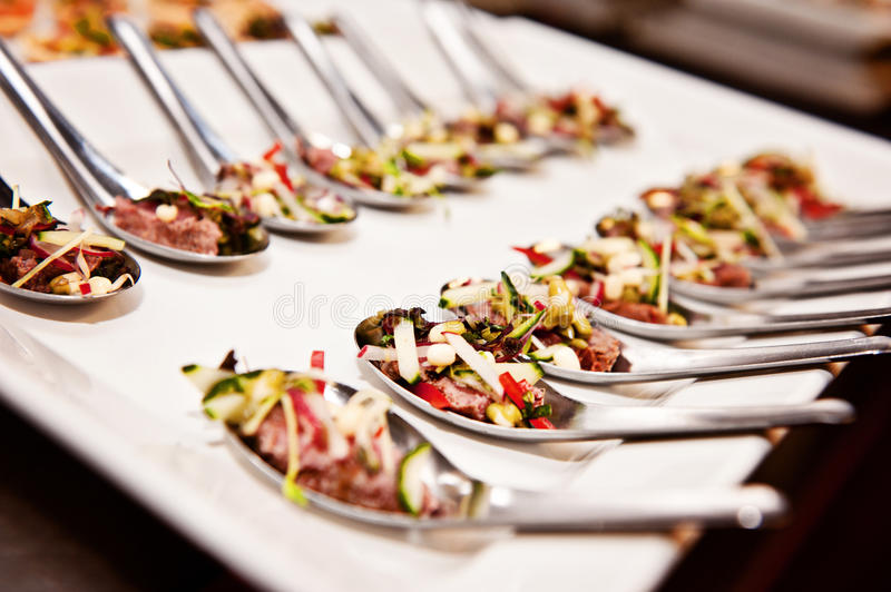 Event food. Food on a platter ready to be served at a conference/event stock photography