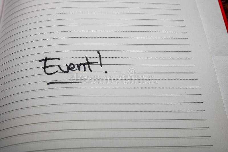 Event, handwriting text on page of office agenda. Copy space.  royalty free stock photo