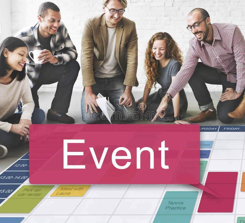 Event Happening Incident Occasion Schedule Concept stock image
