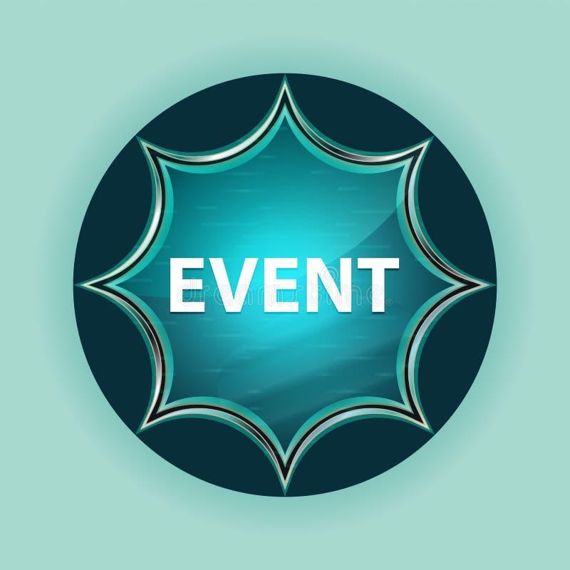 Event magical glassy sunburst blue button sky blue background stock photo