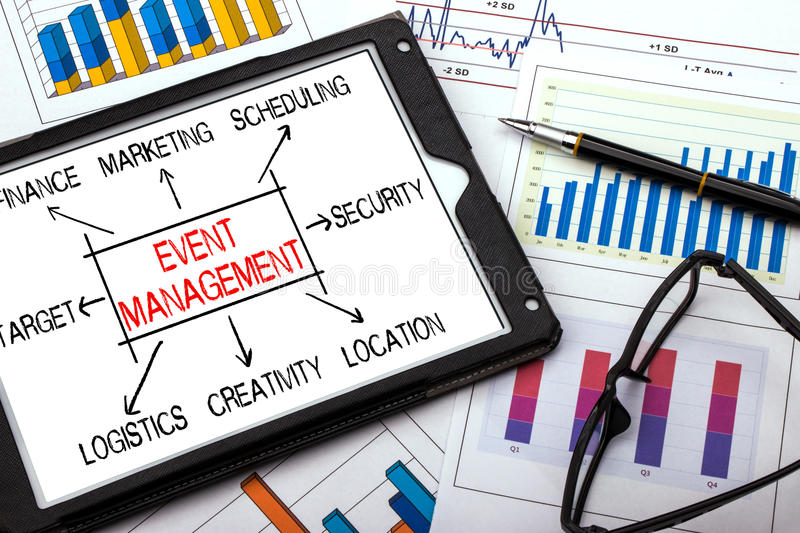 Event management flowchart concept. On tablet pc royalty free stock images