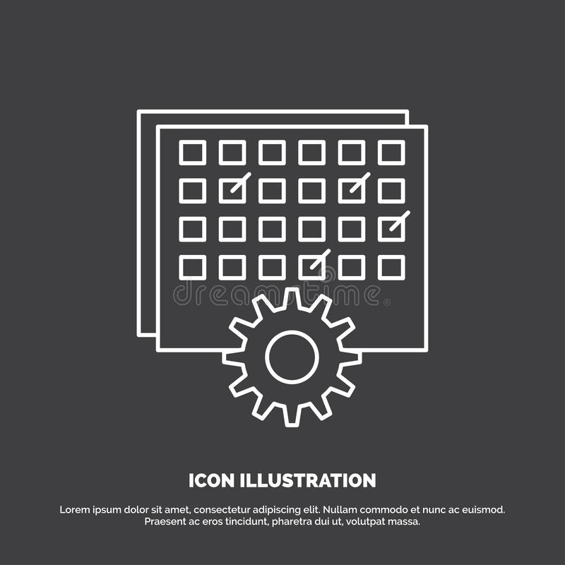 Event, management, processing, schedule, timing Icon. Line vector symbol for UI and UX, website or mobile application. Vector EPS10 Abstract Template royalty free illustration