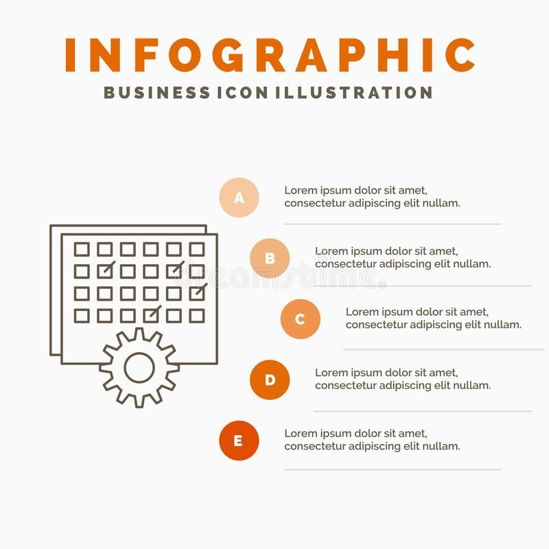 Event, management, processing, schedule, timing Infographics Template for Website and Presentation. Line Gray icon with Orange. Infographic style vector vector illustration