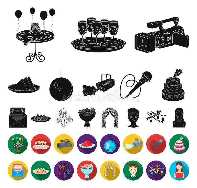 Event Organisation black,flat icons in set collection for design.Celebration and Attributes vector symbol stock web stock illustration