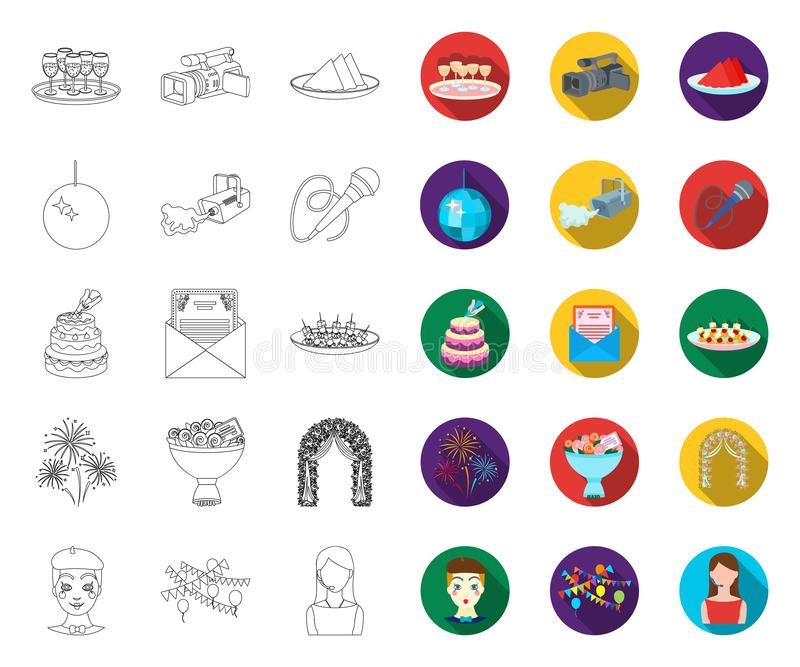 Event Organisation outline,flat icons in set collection for design.Celebration and Attributes vector symbol stock web royalty free illustration