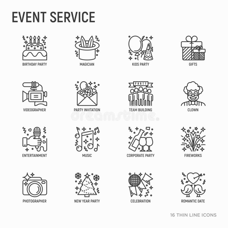 Event services thin line icons set: kids party, gifts, birthday stock illustration