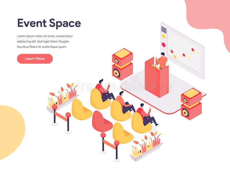 Event Space Illustration Concept. Isometric design concept of web page design for website and mobile website.Vector illustration royalty free illustration