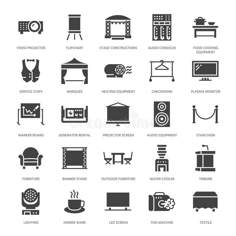 Event supplies flat glyph icons. Party equipment - stage constructions, visual projector, stanchion, flipchart, marquee. Signs for catering, commercial rental royalty free illustration