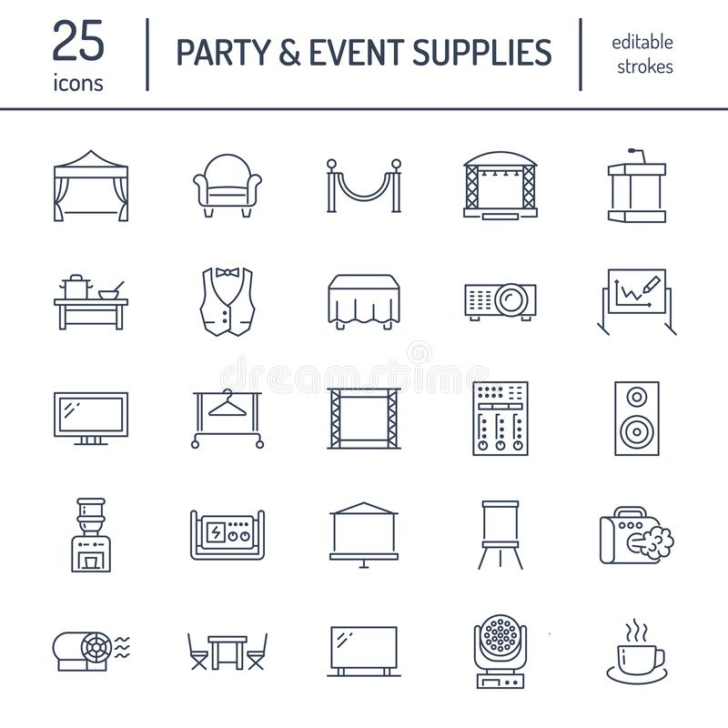 Free Event Supplies Flat Line Icons. Party Equipment - Stage Constructions, Visual Projector, Stanchion, Flipchart, Marquee Stock Images - 106946344