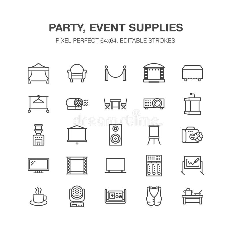 Event supplies flat line icons. Party equipment - stage constructions, visual projector, stanchion, flipchart, marquee vector illustration