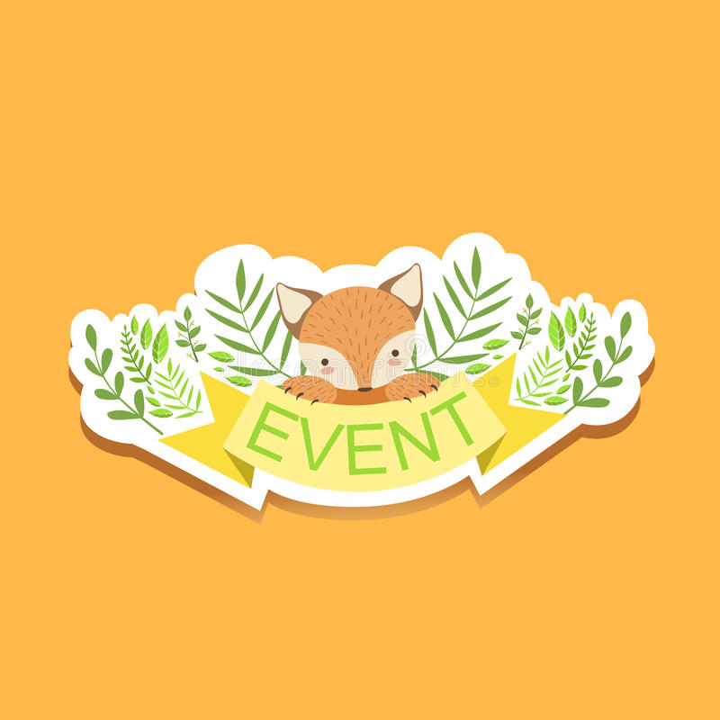 Download event template label cute sticker with fox and plants stock illustration illustration of forest