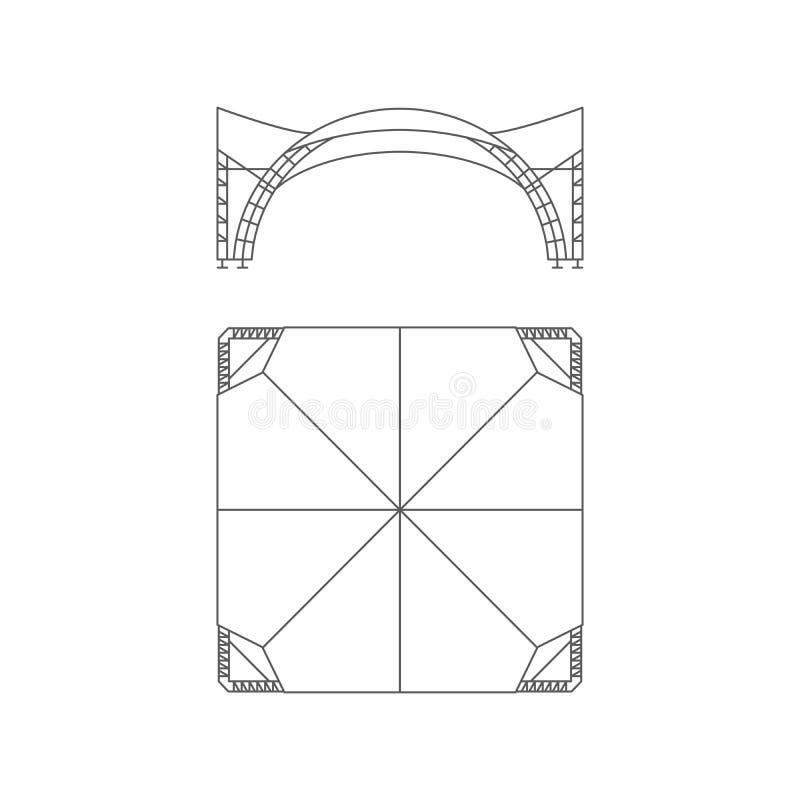 Event tent. Folding tent, wedding tent, canopy. Vector illustration. stock illustration
