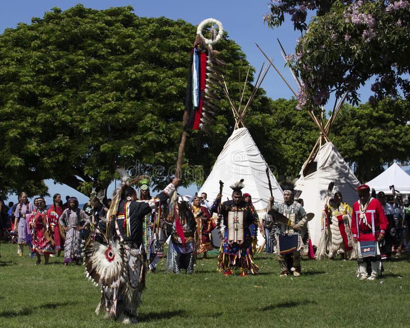 American Coup Stick. Event:  45th Annual Honolulu Intertribal Pow Wow royalty free stock image