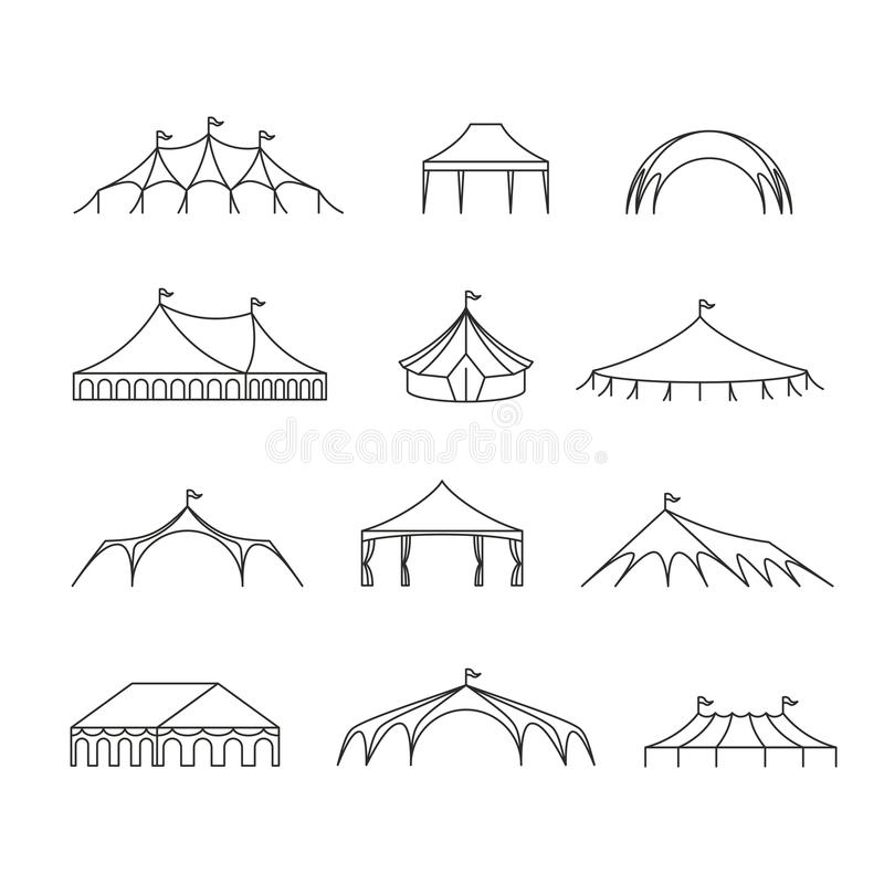 Event And Wedding Outdoor Marquee Tents Vector Line Icons Stock