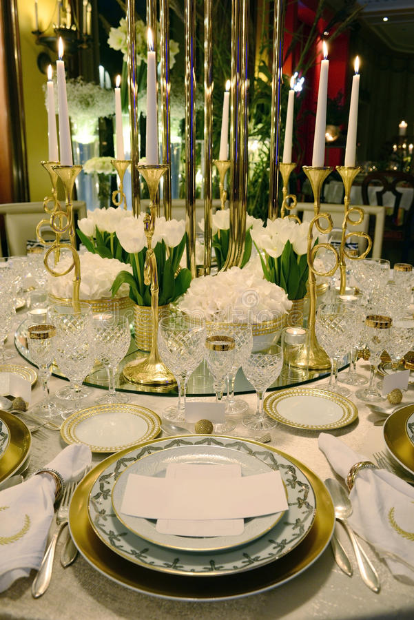 Event - White and Golden Table Decoration, White Flowers stock images