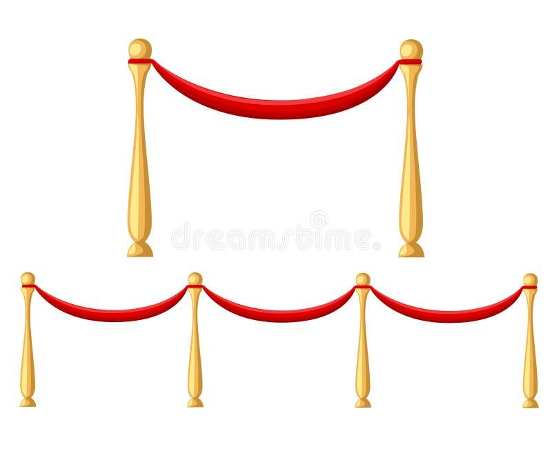 Evento ceremonial del vip de la alfombra roja o jefe de la imagen realista de la visita de estado con el ejemplo de las barreras  ilustración del vector