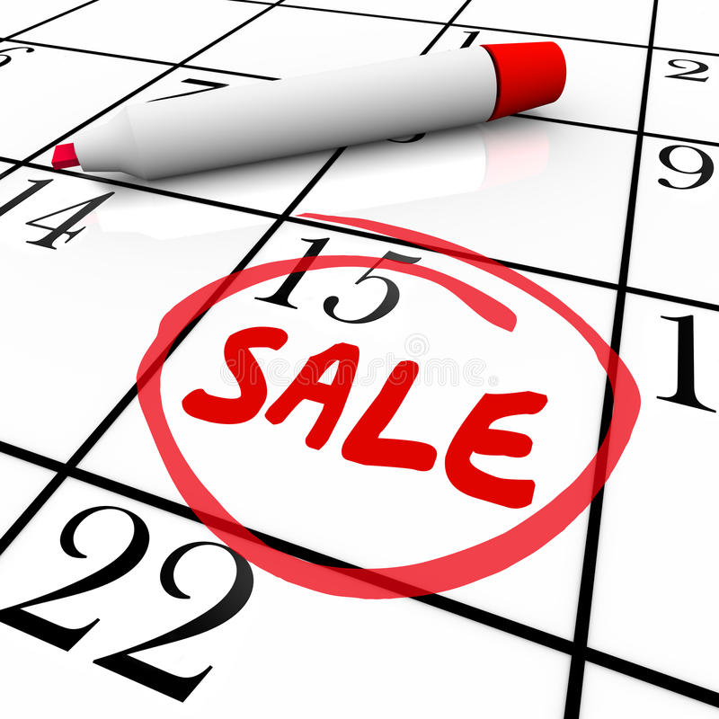 Evento circundado de la tienda de la liquidación de la oferta del trato del calendario de la fecha de día de la venta stock de ilustración