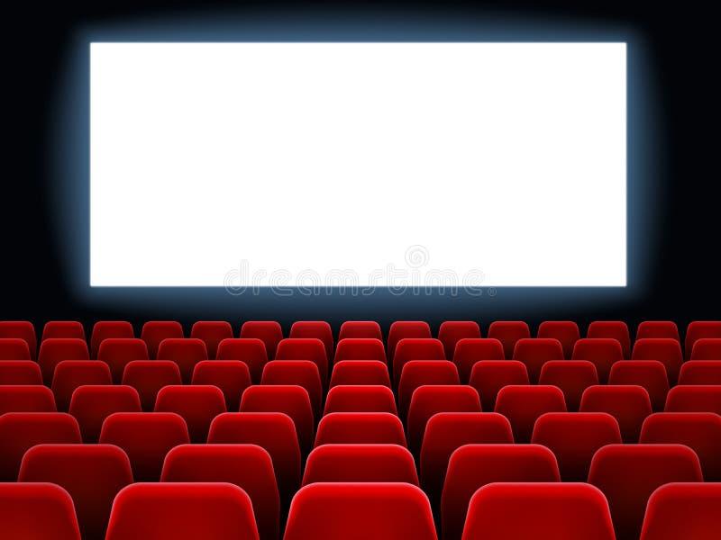 Evento da premier do filme no teatro da cinematografia Tela vazia branca do cinema no interior do salão do filme com vetor dos lu ilustração royalty free
