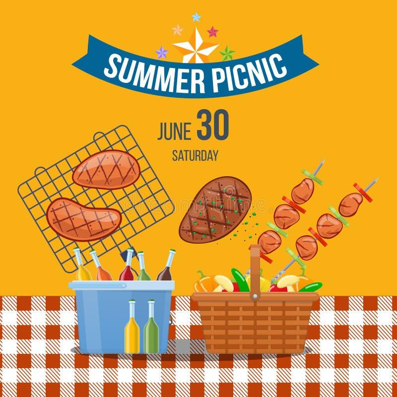 Evento de la comida campestre del verano en el parque al aire libre Comida campestre del cartel de la publicidad libre illustration