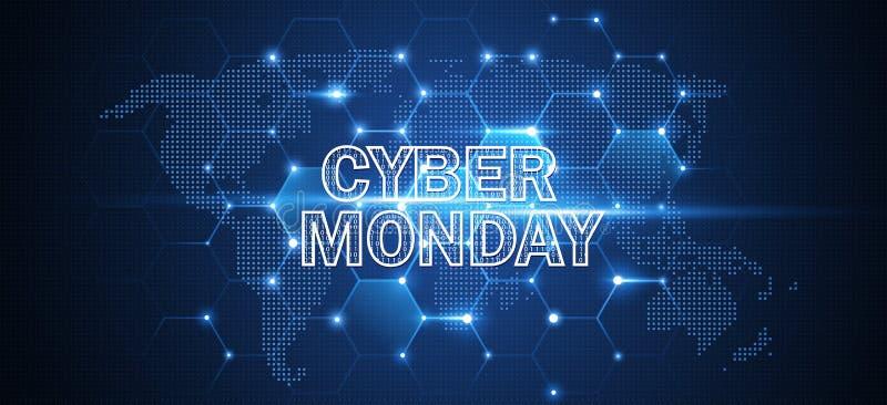 Evento de venda em linha de segunda-feira do Cyber Ilustração da tecnologia do vetor ilustração royalty free