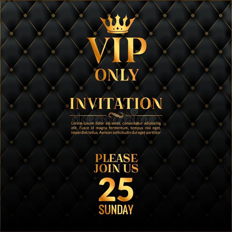 Evento di lusso dell'invito di VIP Appartenenza esclusiva di cuoio d'annata dell'oro di progettazione di carta dell'invito illustrazione vettoriale
