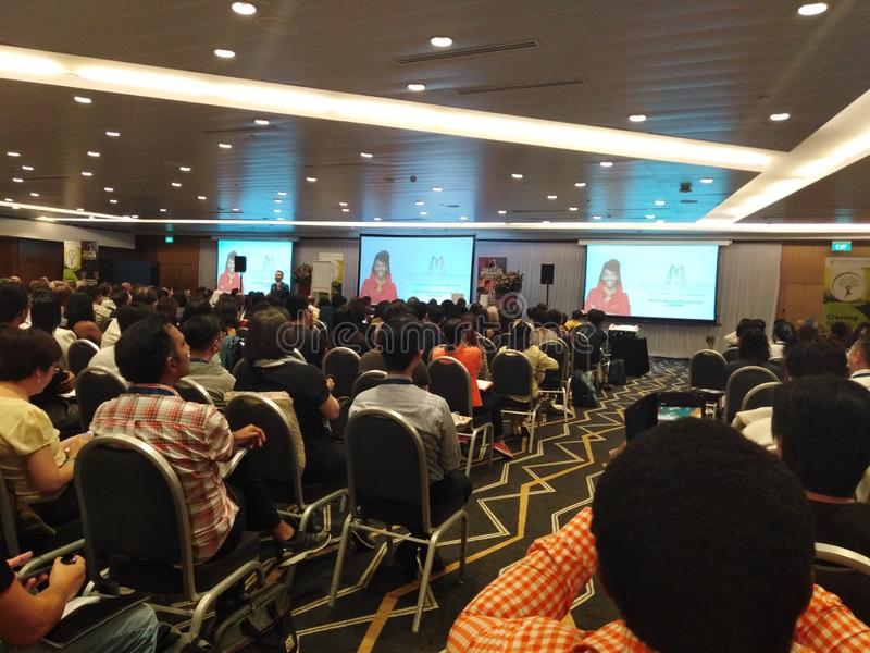 Evento di seminario al palazzo dei congressi di Suntec, Singapore fotografie stock libere da diritti