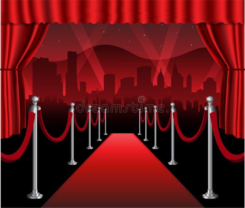 Evento elegante hollywood de la premier de la película de la alfombra roja ilustración del vector