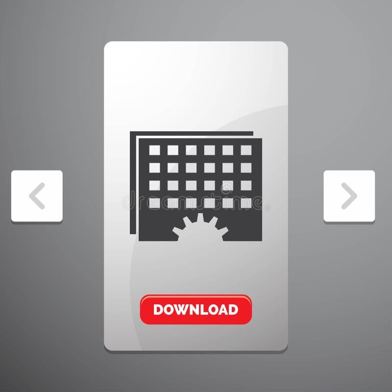 Evento, gestão, processamento, programação, ícone do Glyph do sincronismo no projeto do slider das paginações do Carousal & botão ilustração do vetor