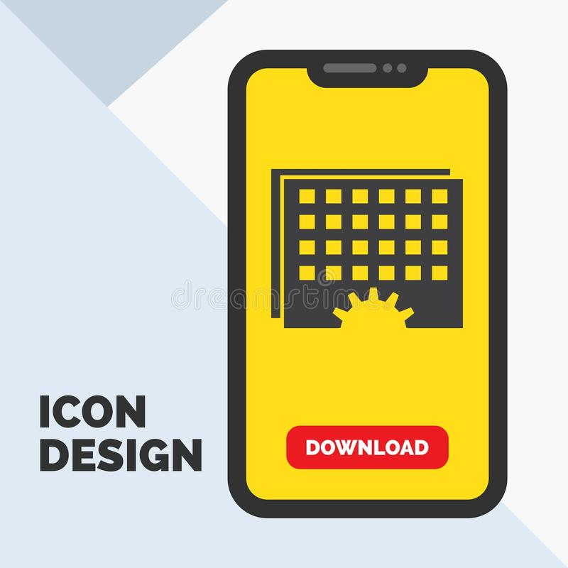 Evento, gestão, processando, programação, ícone do Glyph do sincronismo no móbil para a página da transferência Fundo amarelo ilustração stock