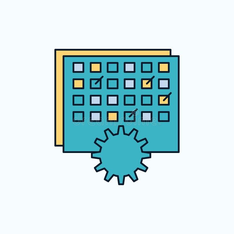 Evento, gestão, processando, programação, ícone liso do sincronismo sinal e s?mbolos verdes e amarelos para o Web site e o applia ilustração stock