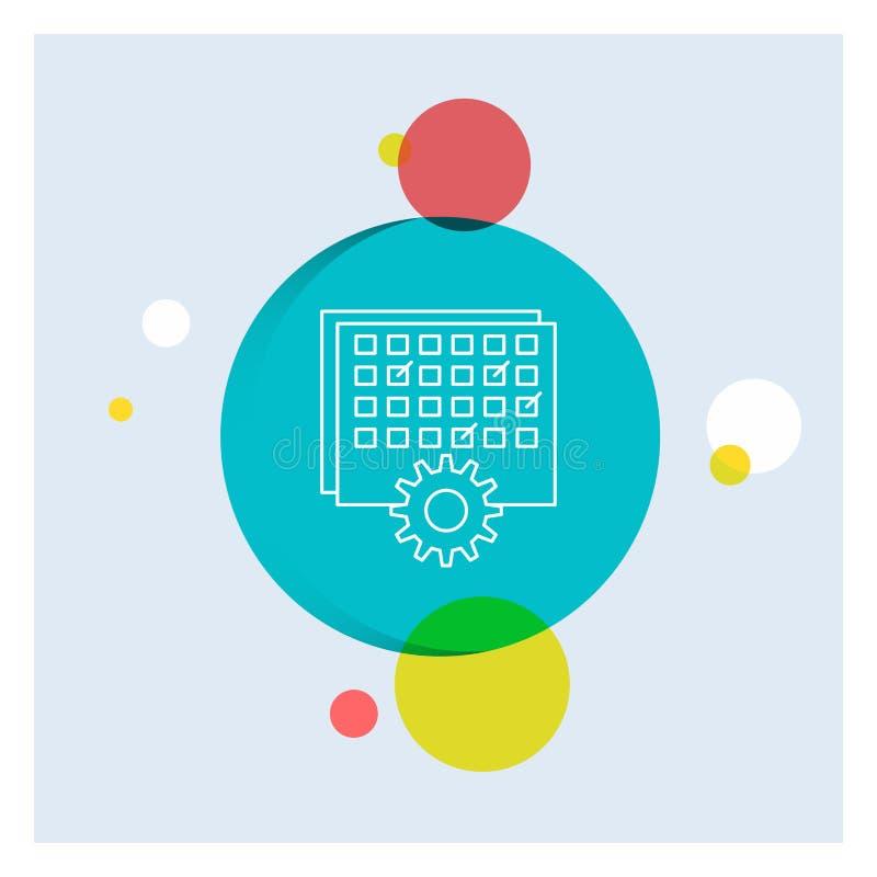 Evento, gestão, processando, programação, linha branca fundo colorido do sincronismo do círculo do ícone ilustração do vetor