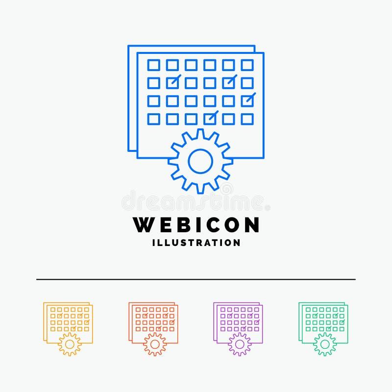 Evento, gestão, processando, programação, linha de cor molde do sincronismo 5 do ícone da Web isolado no branco Ilustra??o do vet ilustração royalty free