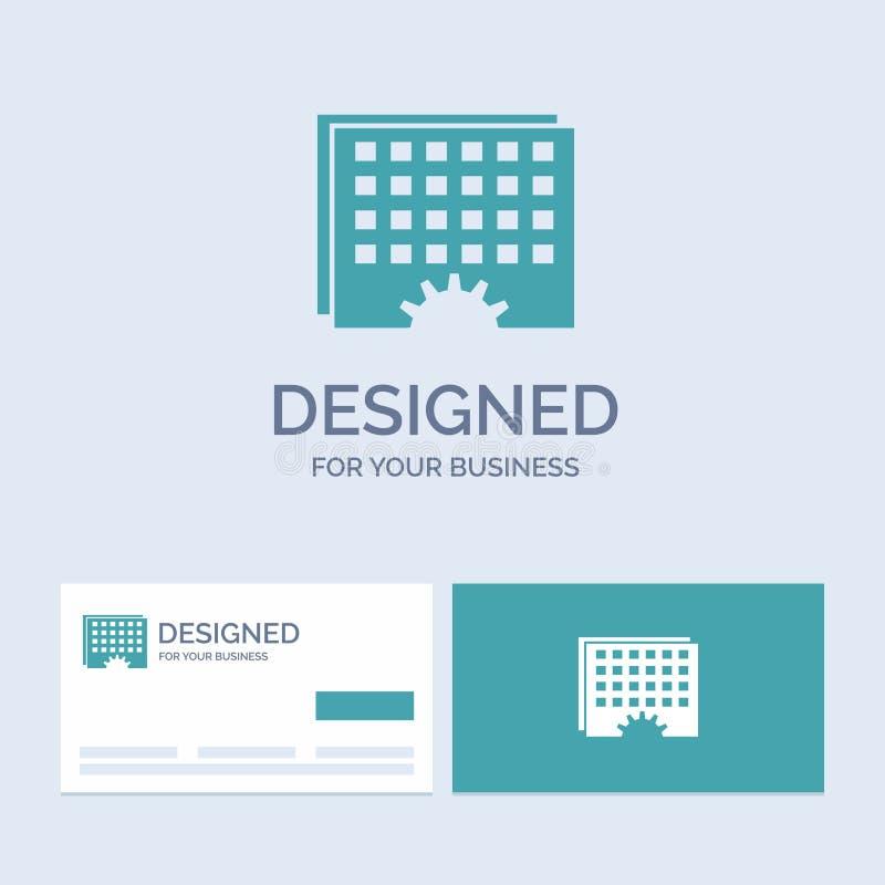 Evento, gestão, processando, programação, negócio Logo Glyph Icon Symbol do sincronismo para seu negócio Cart?es de turquesa com ilustração stock
