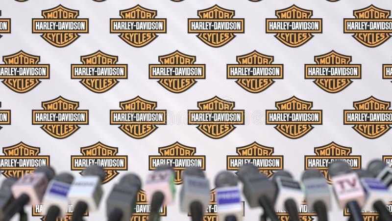Evento mediático de HARLEY-DAVIDSON, pared de la prensa con el logotipo y los micrófonos, representación editorial 3D stock de ilustración