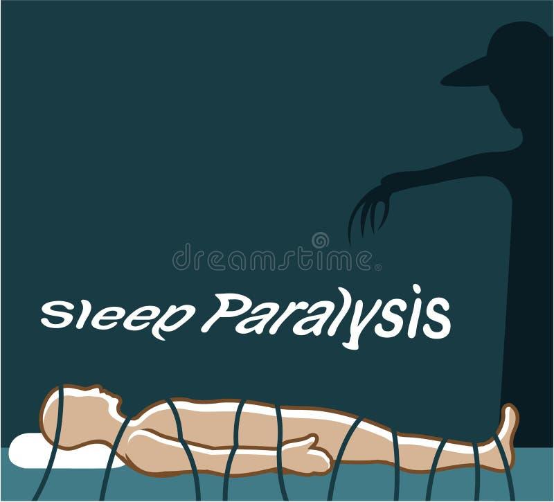 Evento sobrenatural e condição da paralisia do sono com um fantasma ilustração do vetor