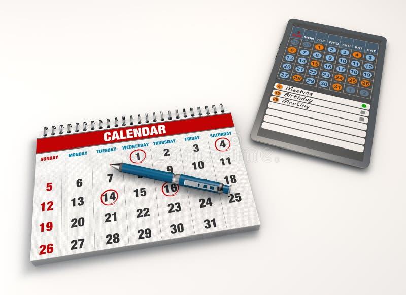 Eventos del calendario ilustración del vector