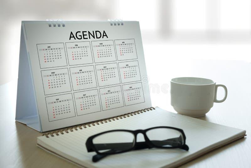 Eventos del calendario de la información de la actividad del orden del día y Appointm del encuentro fotos de archivo libres de regalías