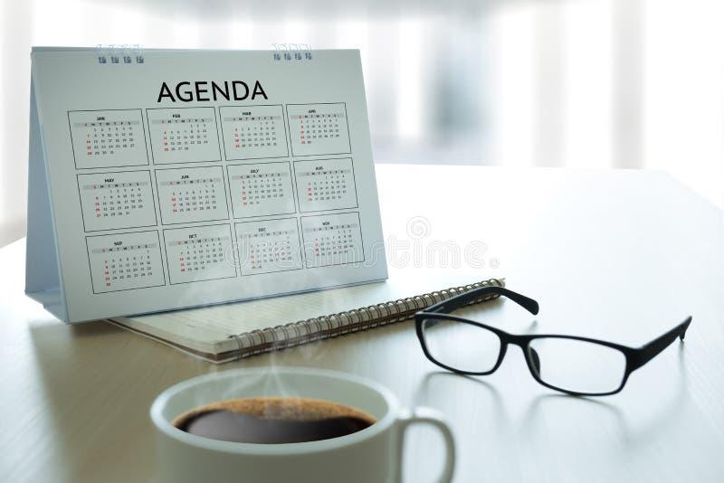 Eventos del calendario de la información de la actividad del orden del día y Appointm del encuentro foto de archivo