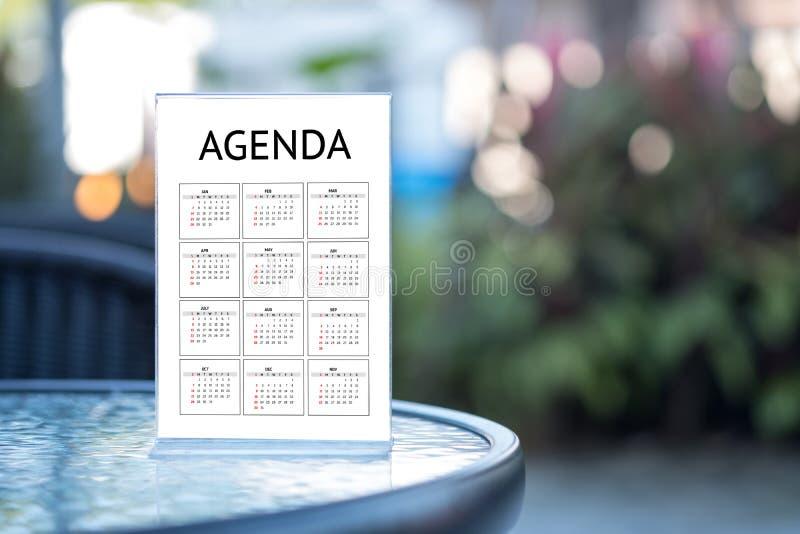 Eventos del calendario de la información de la actividad del orden del día y Appointm del encuentro imagenes de archivo