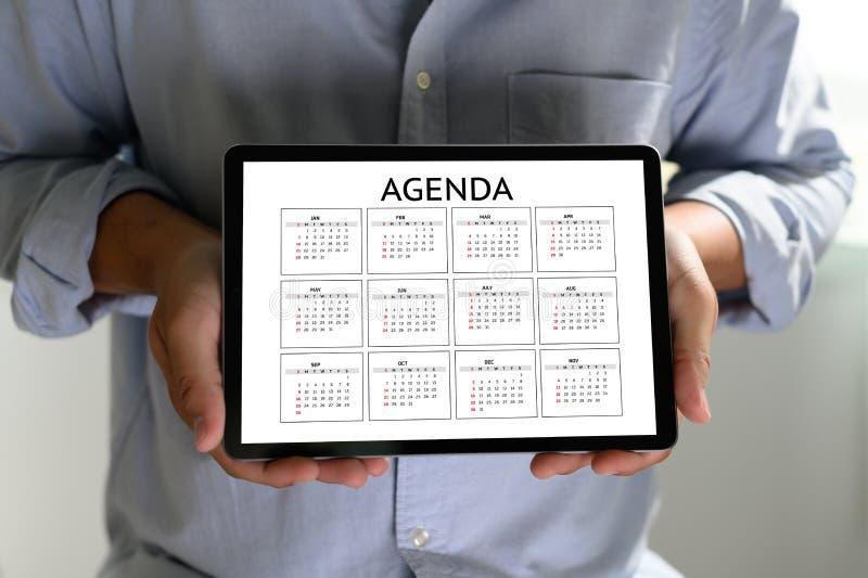 Eventos del calendario de la informaci?n de la actividad del orden del d?a y cita de la reuni?n fotografía de archivo