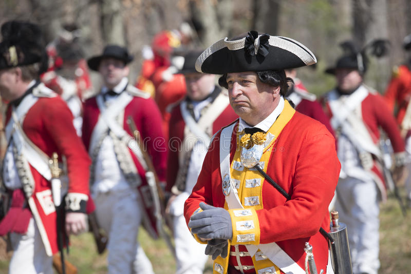 Eventos históricos em Lexington, miliampère do Reenactment, EUA foto de stock