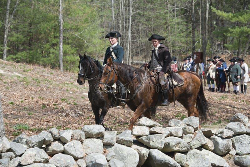 Eventos históricos em Lexington, miliampère do Reenactment, EUA imagem de stock