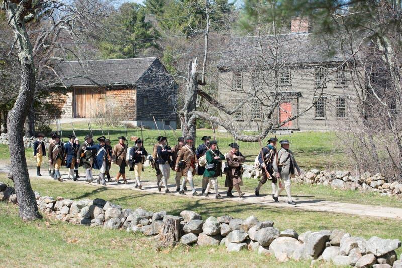 Eventos históricos en Lexington, mA, los E.E.U.U. de la reconstrucción fotografía de archivo libre de regalías