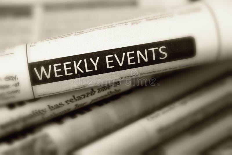 Eventos semanais do título de um do jornal fotos de stock royalty free