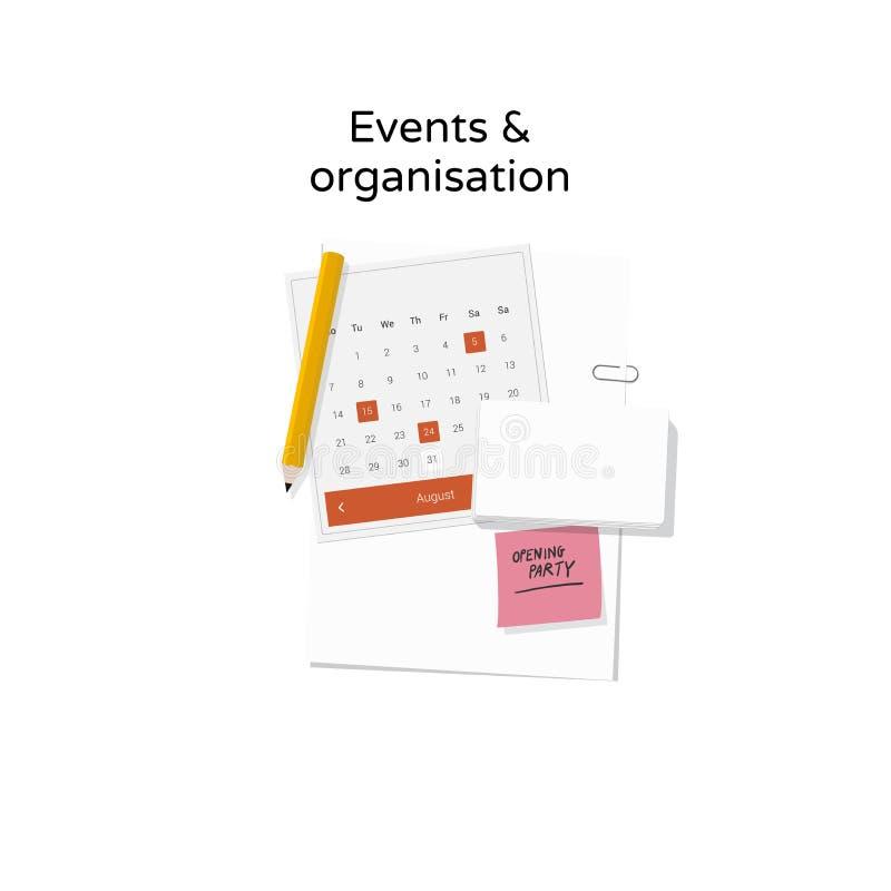 Eventos y ejemplo de la organización stock de ilustración