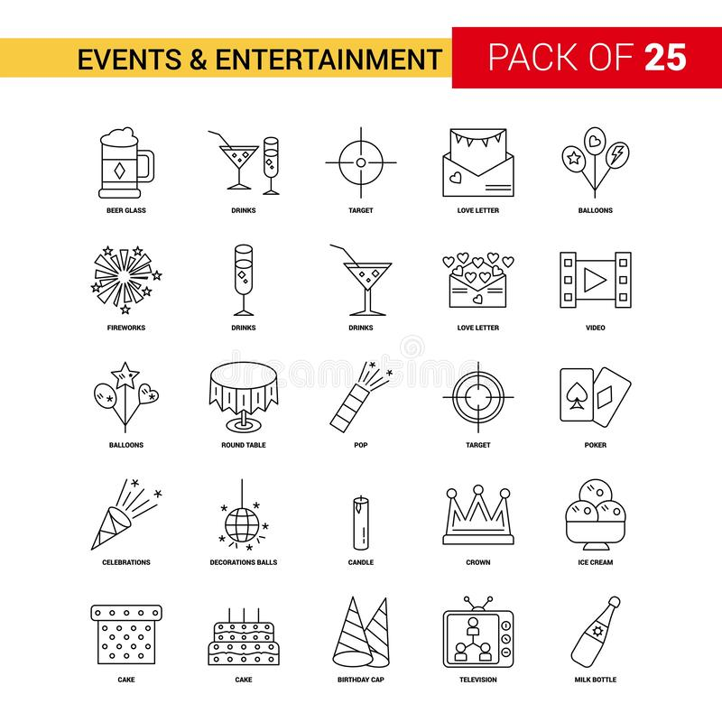 Events and Entertainment Black Line Icon - 25 Business Outline I. Con Set - This Vector EPS 10 illustration is best for print media, web design, application vector illustration
