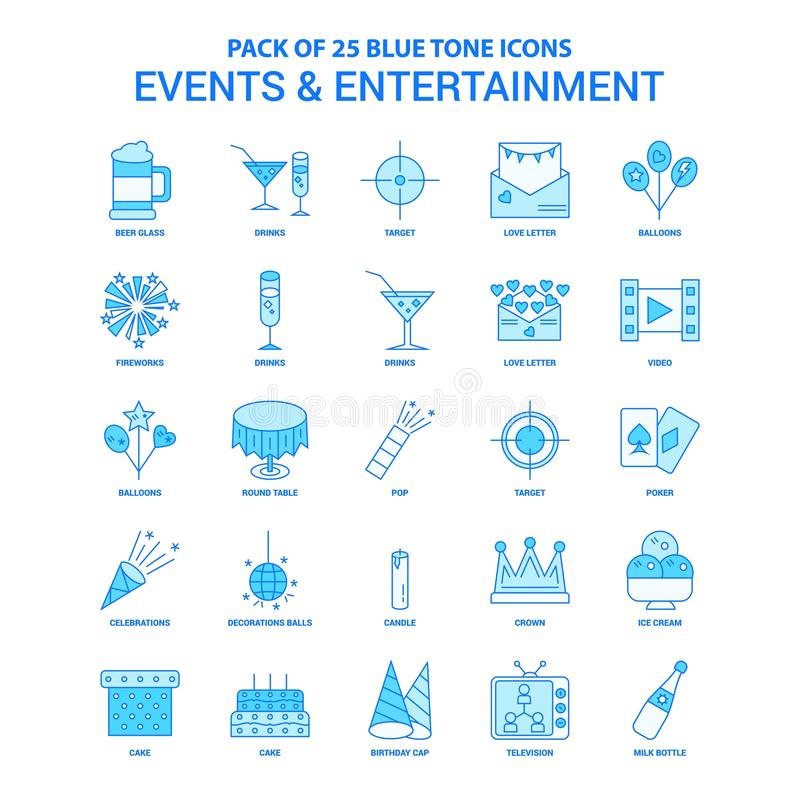Events and Entertainment Blue Tone Icon Pack - 25 Icon Sets. This Vector EPS 10 illustration is best for print media, web design, application design user royalty free illustration